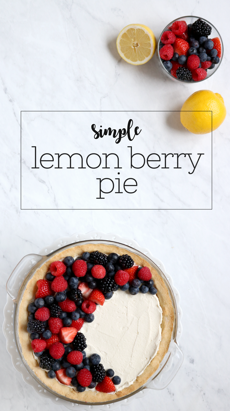 Simple Lemon Berry Pie - delicious lemon mascarpone cream filing topped with mixed berries | via Pies Before Guys
