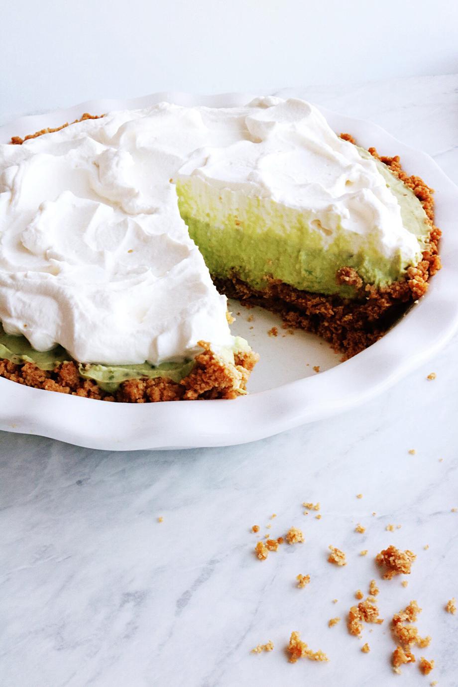 Avocado Cream Pie recipe via Pies Before Guys