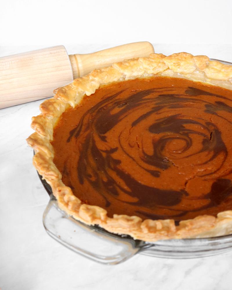 Pumpkin Chocolate Swirl Pie for Thanksgiving | via Pies Before Guys
