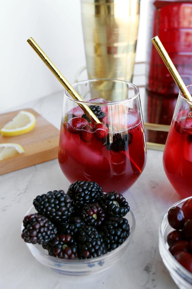 Cranberry & Blackberry Bourbon Cocktail   via Pies Before Guys