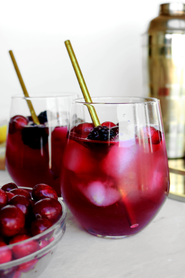 Cranberry and Blackberry Bourbon Cocktail | via Pies Before Guys